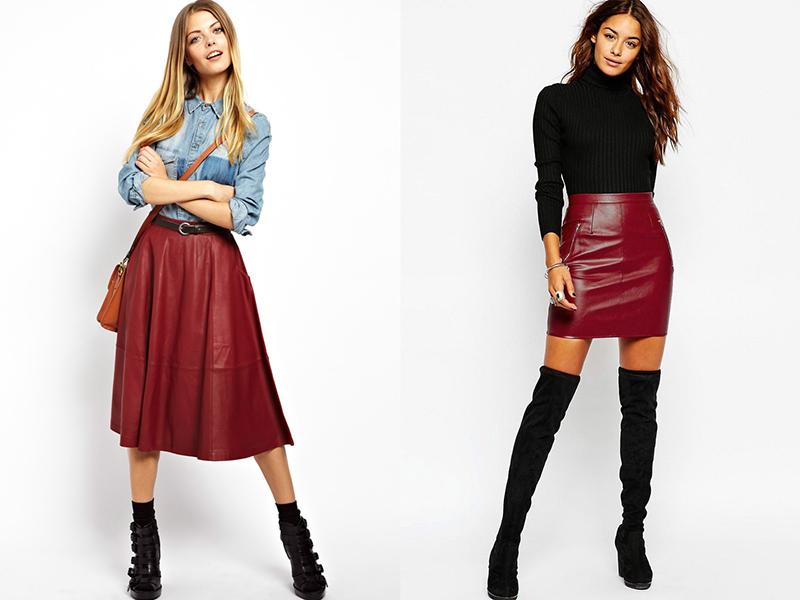 2198871ae2e Burgundsko rozjasněné kožené sukně délky midi nebo maxi je kombinováno s  pletené svetry